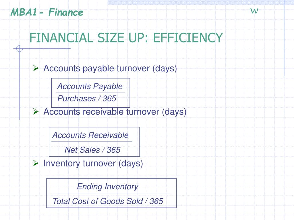 FINANCIAL SIZE UP: EFFICIENCY
