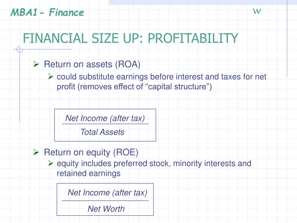 FINANCIAL SIZE UP: PROFITABILITY
