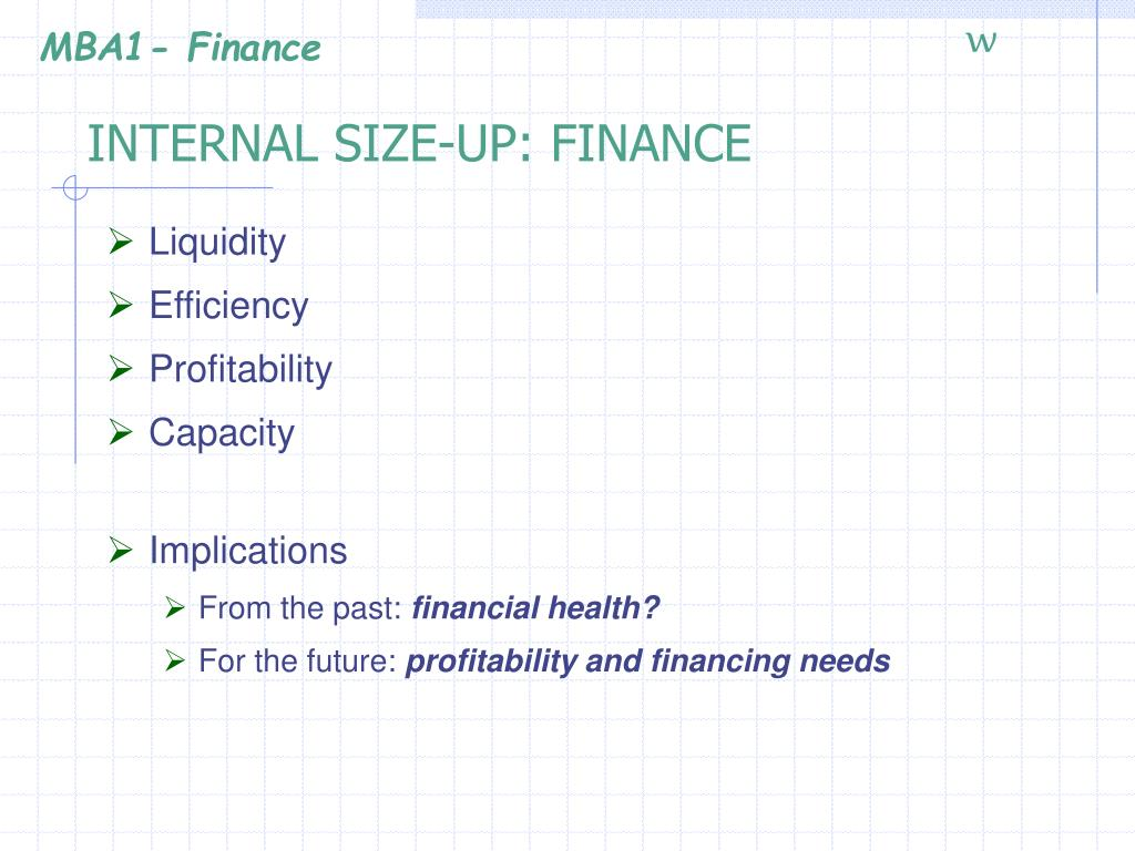 INTERNAL SIZE-UP: FINANCE