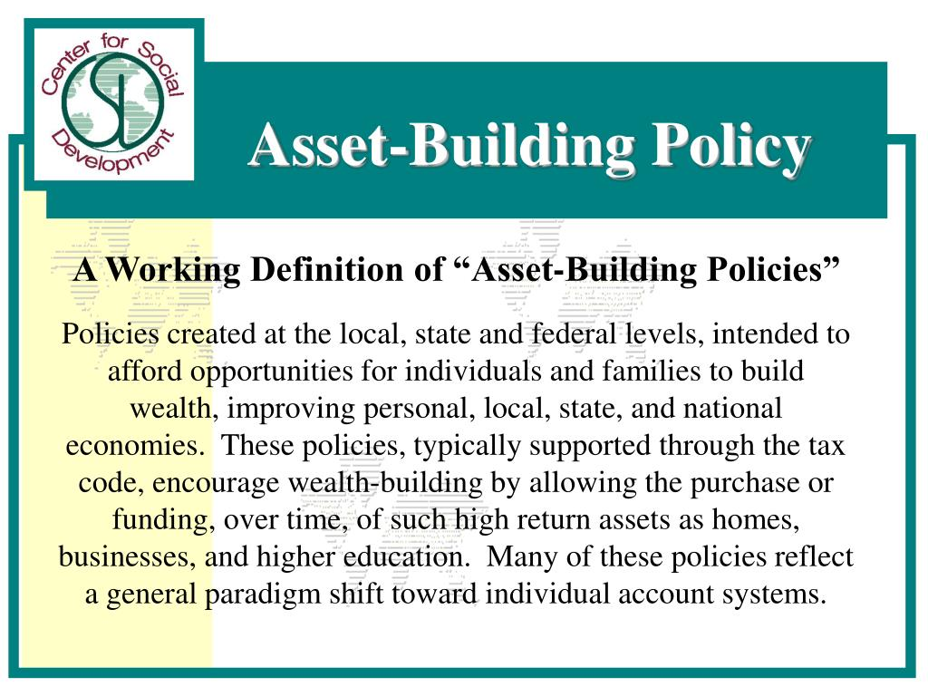 "A Working Definition of ""Asset-Building Policies"""