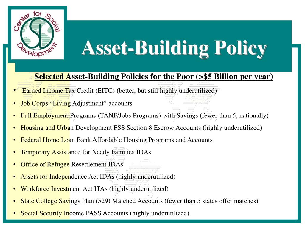 Selected Asset-Building Policies for the Poor (>$5 Billion per year)