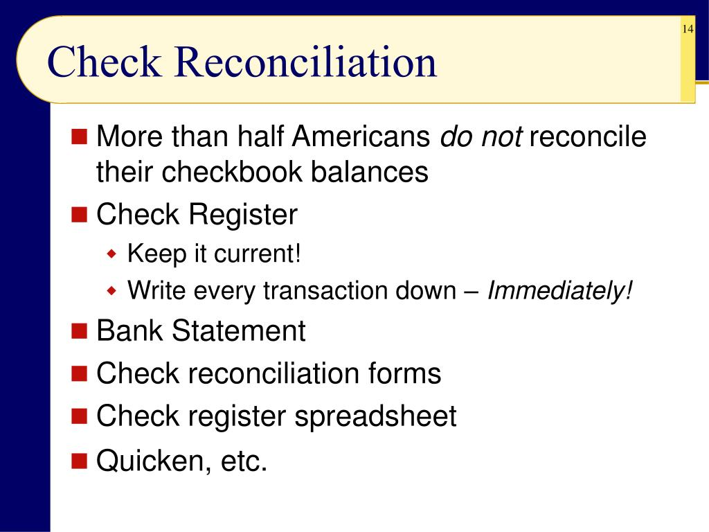 Check Reconciliation
