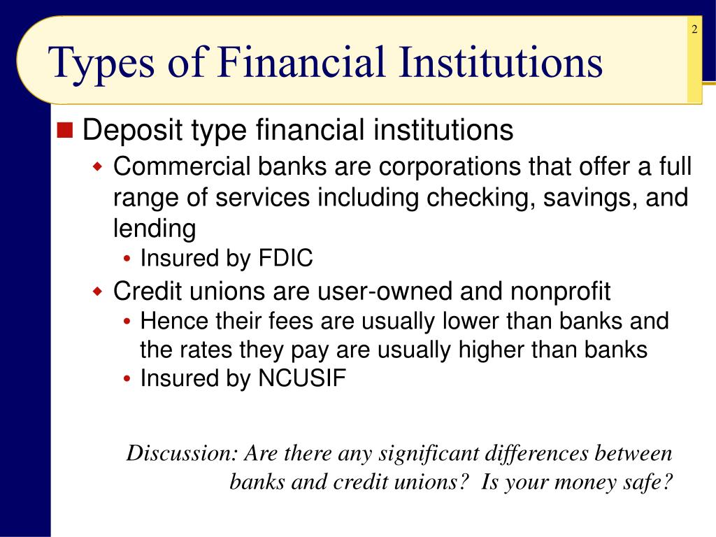 Types of Financial Institutions