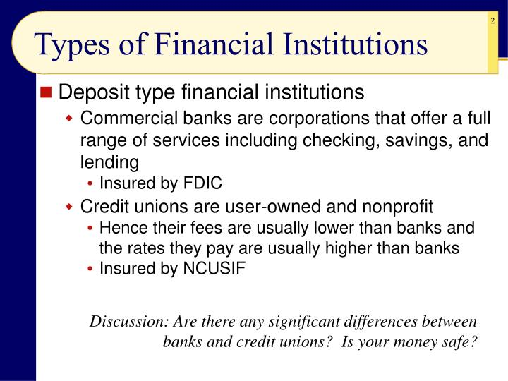 Types of financial institutions l.jpg