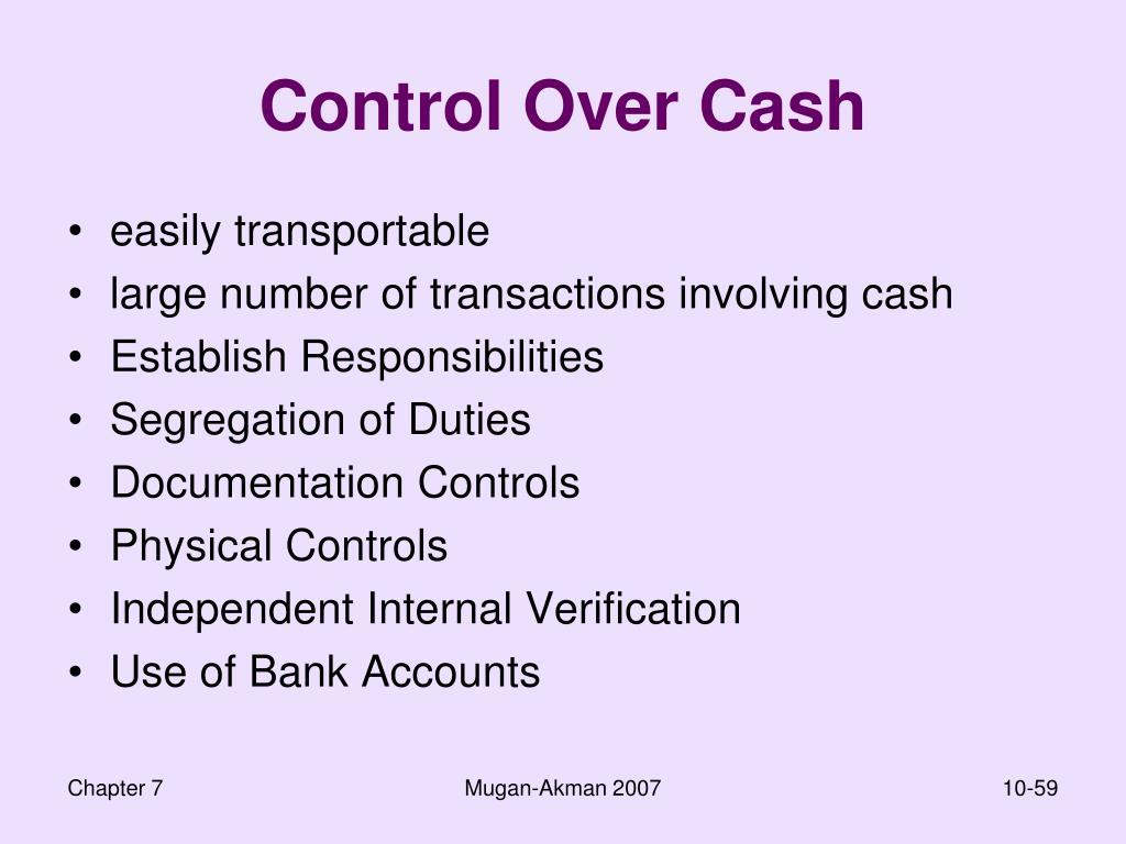 Control Over Cash