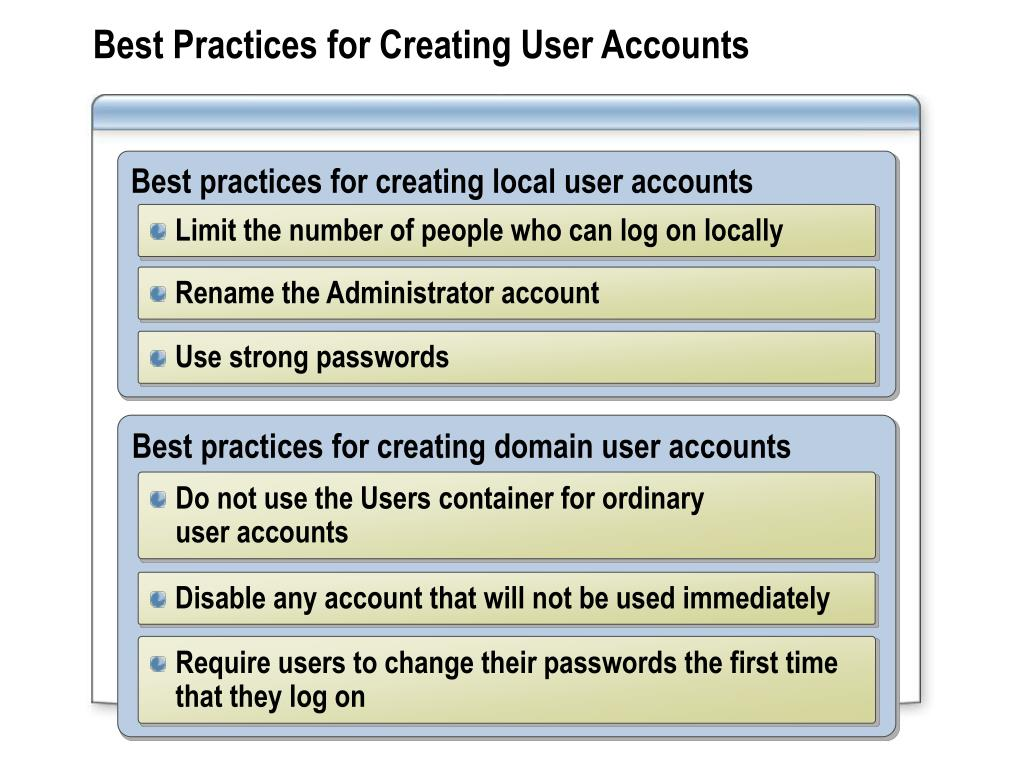 Best Practices for Creating User Accounts