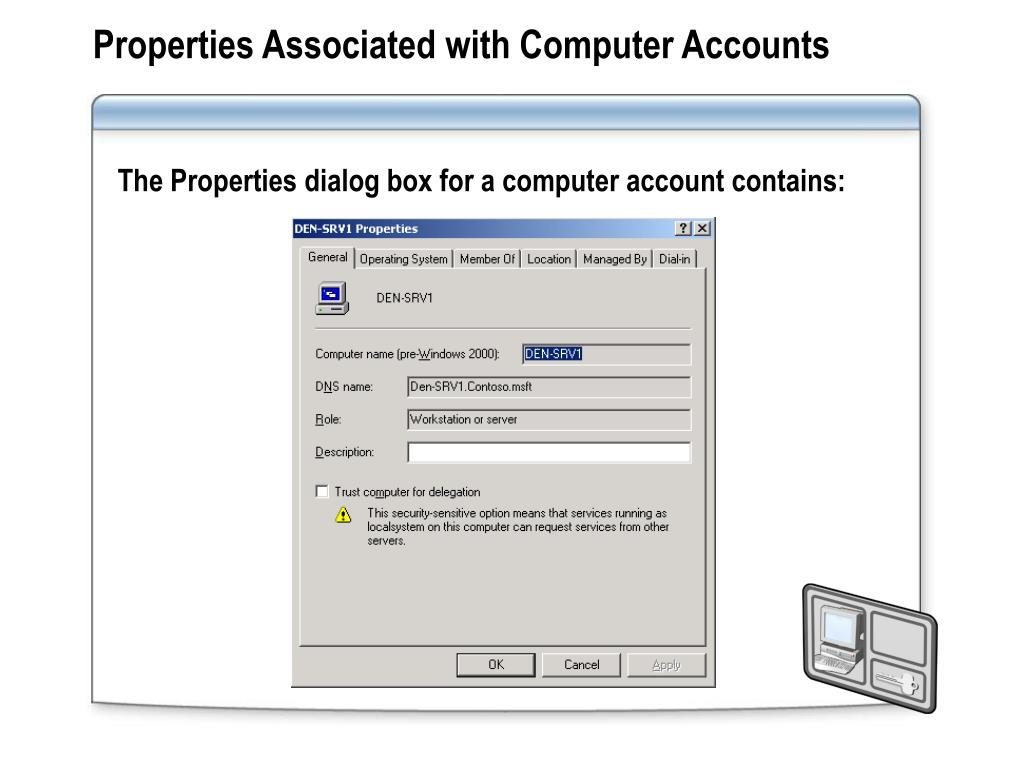 Properties Associated with Computer Accounts