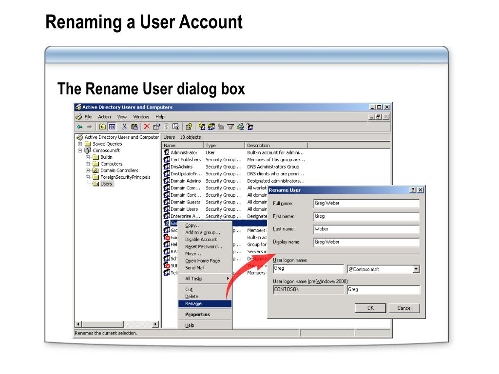 Renaming a User Account