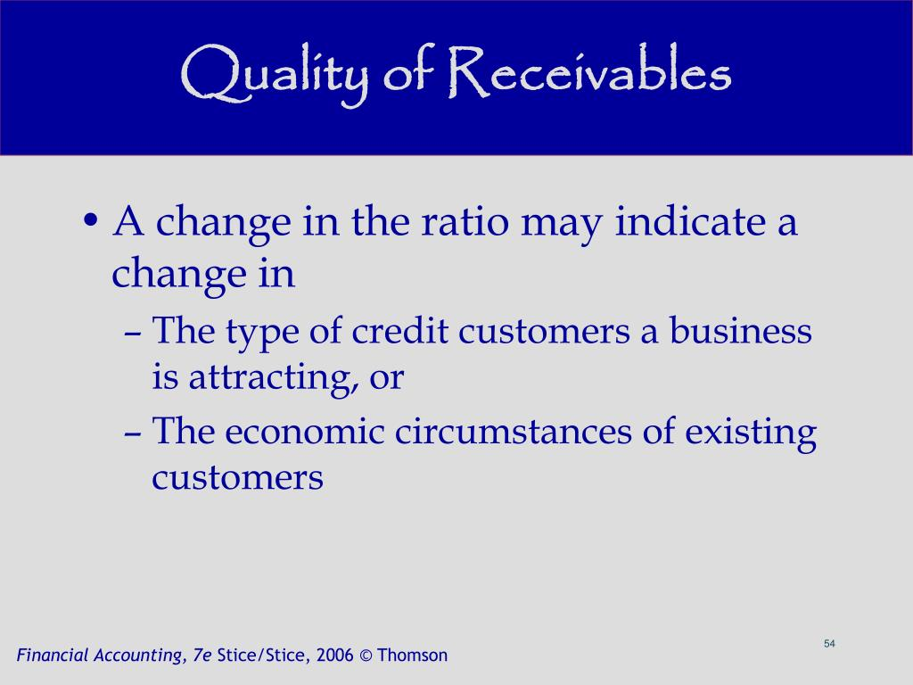 Quality of Receivables