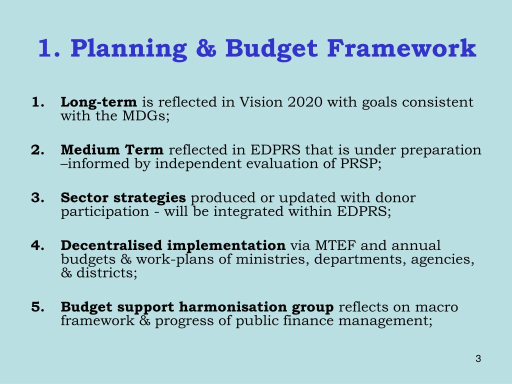 1. Planning & Budget Framework