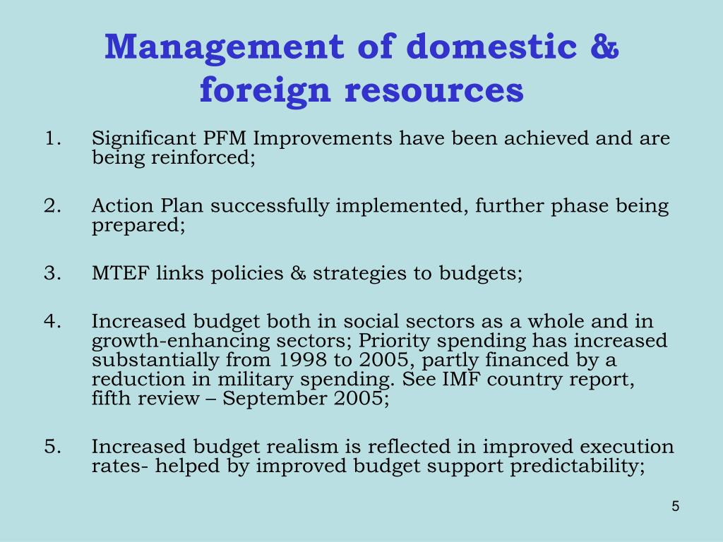 Management of domestic & foreign resources