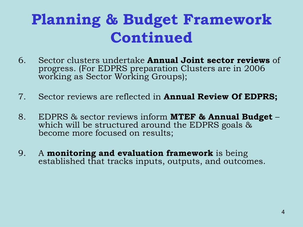Planning & Budget Framework Continued