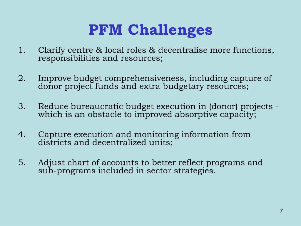 PFM Challenges