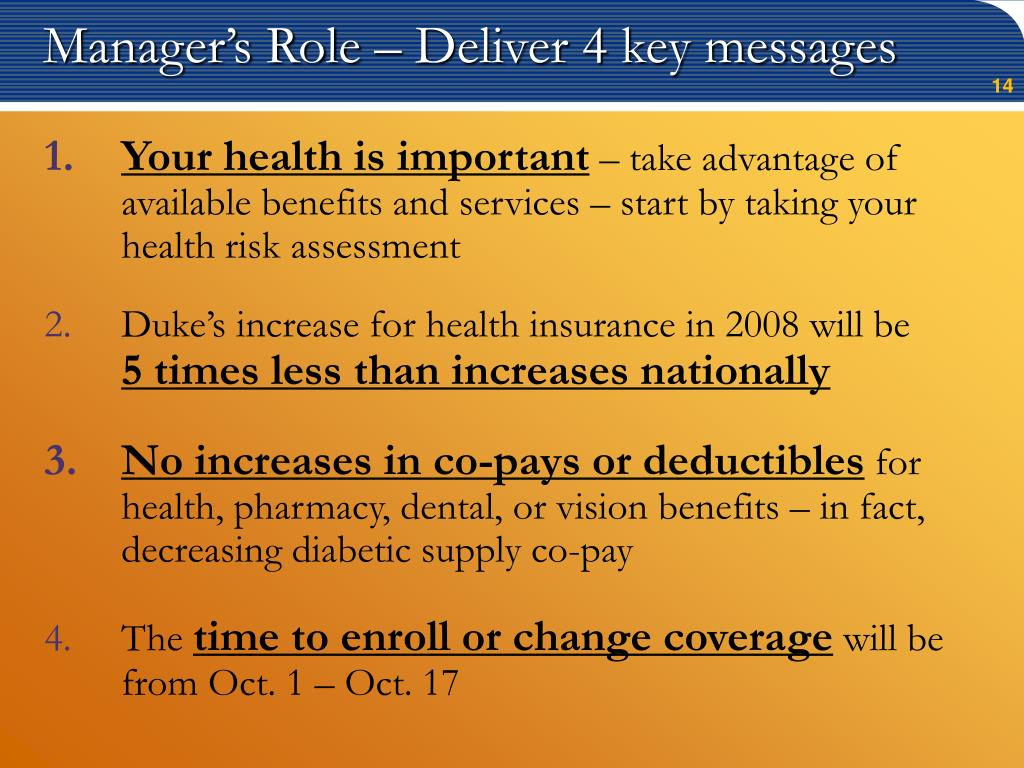 Manager's Role – Deliver 4 key messages