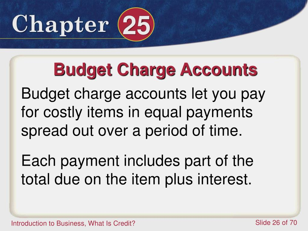 Budget Charge Accounts