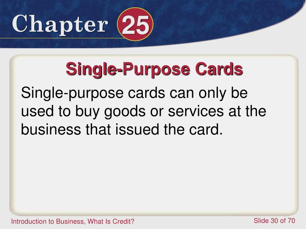 Single-Purpose Cards