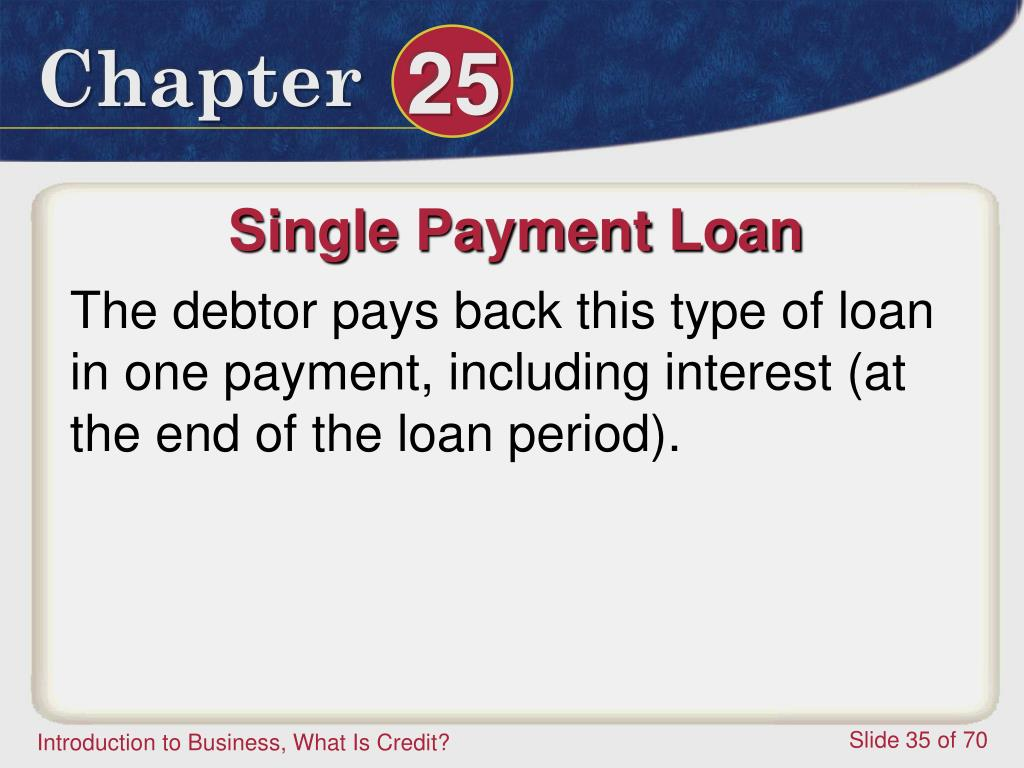 Single Payment Loan