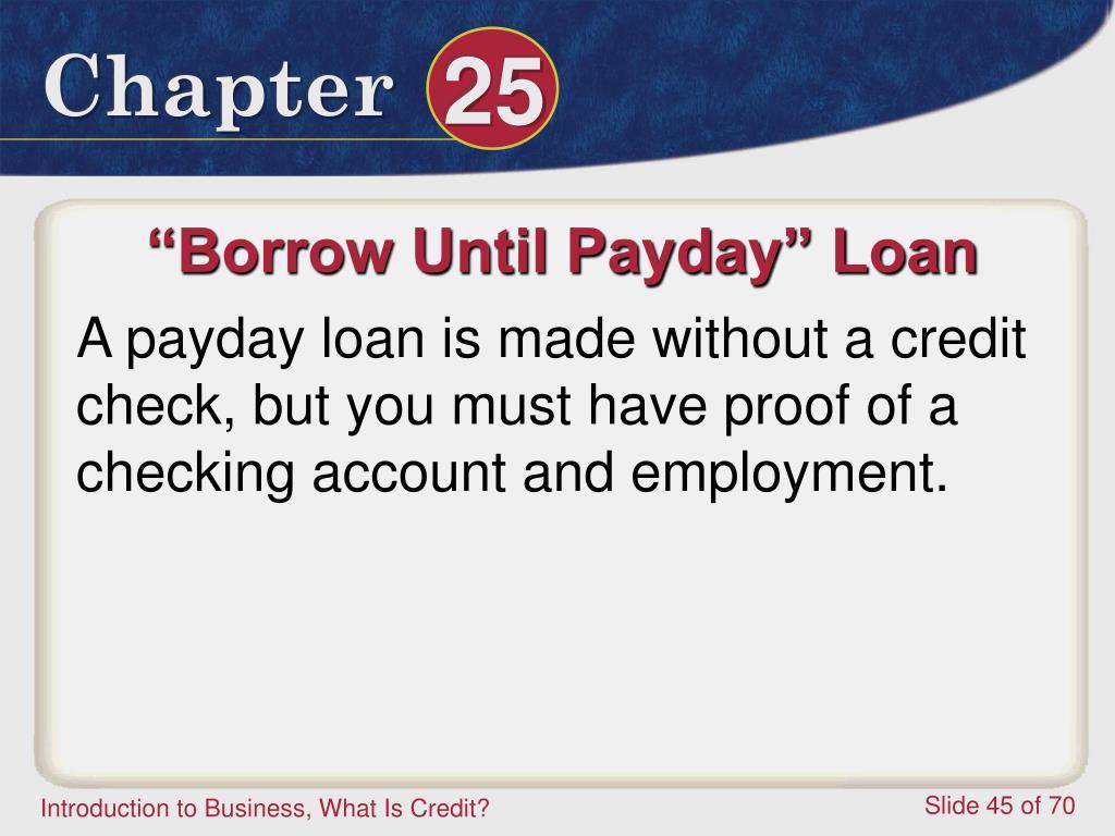 """""""Borrow Until Payday"""" Loan"""
