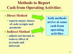 methods to report cash from operating activities