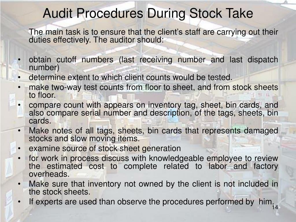 Audit Procedures During Stock Take