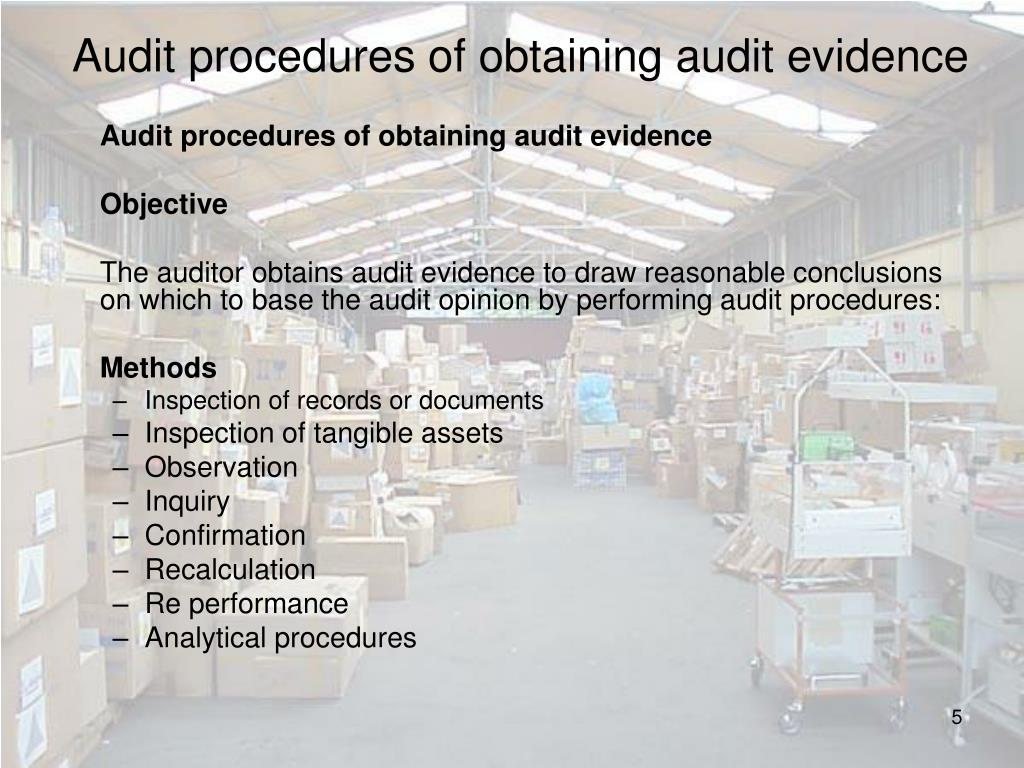 Audit procedures of obtaining audit evidence