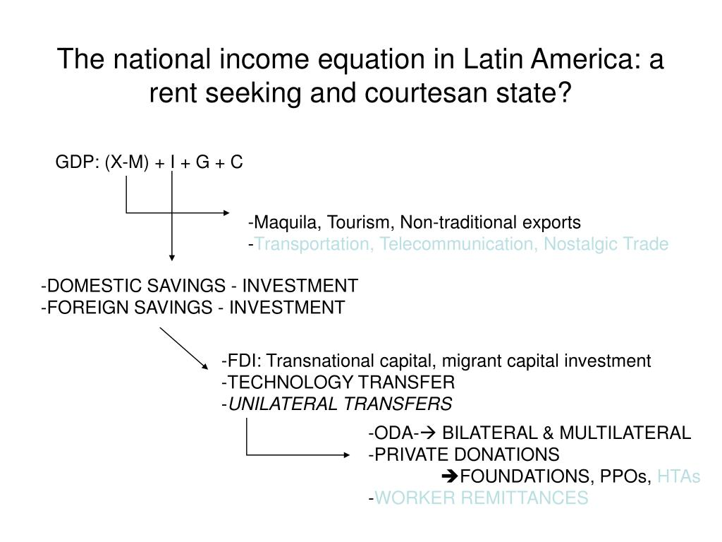 The national income equation in Latin America: a rent seeking and courtesan state?