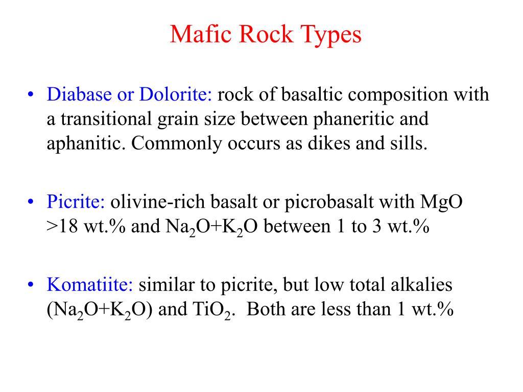 Mafic Rock Types