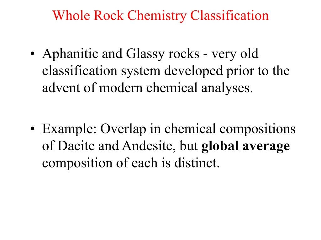 Whole Rock Chemistry Classification