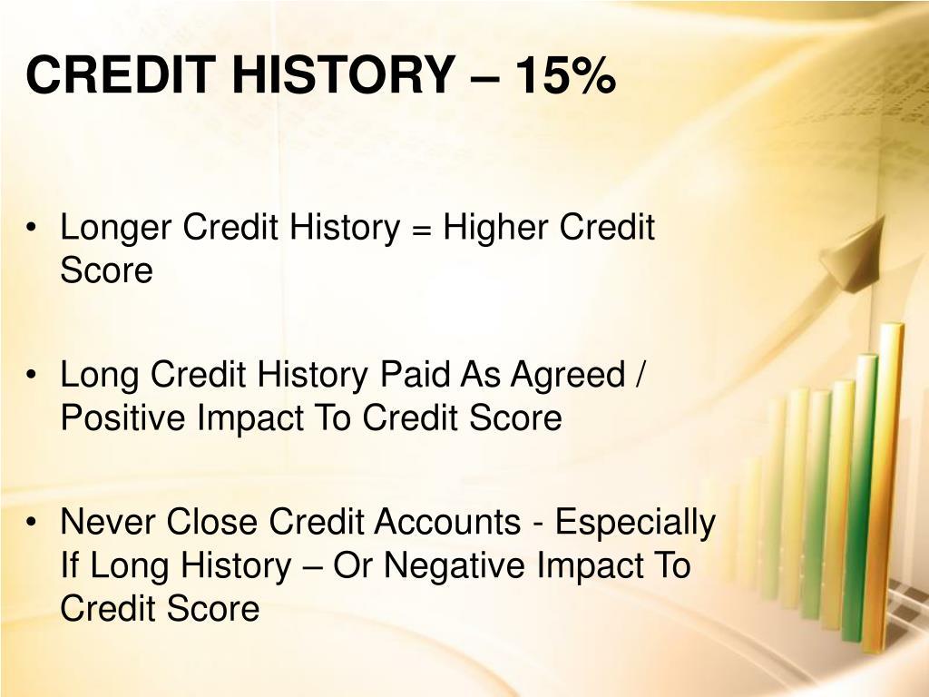 CREDIT HISTORY – 15%