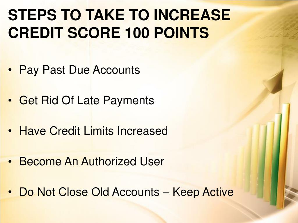 STEPS TO TAKE TO INCREASE CREDIT SCORE 100 POINTS