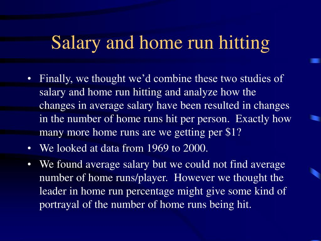 Salary and home run hitting