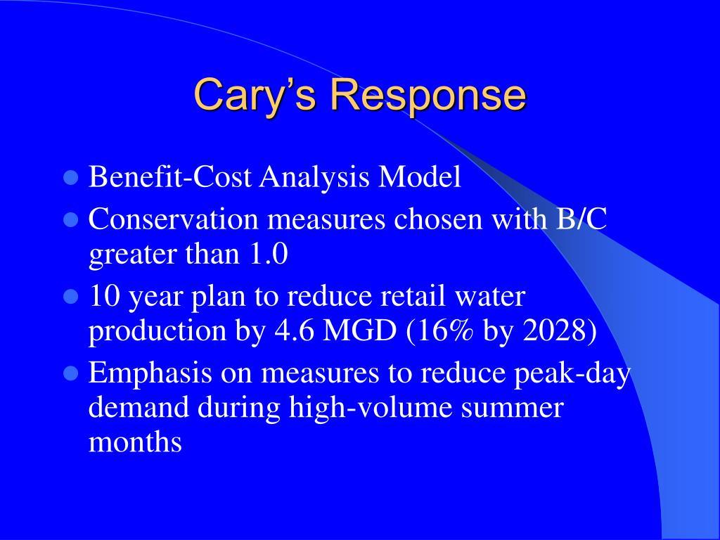 Cary's Response