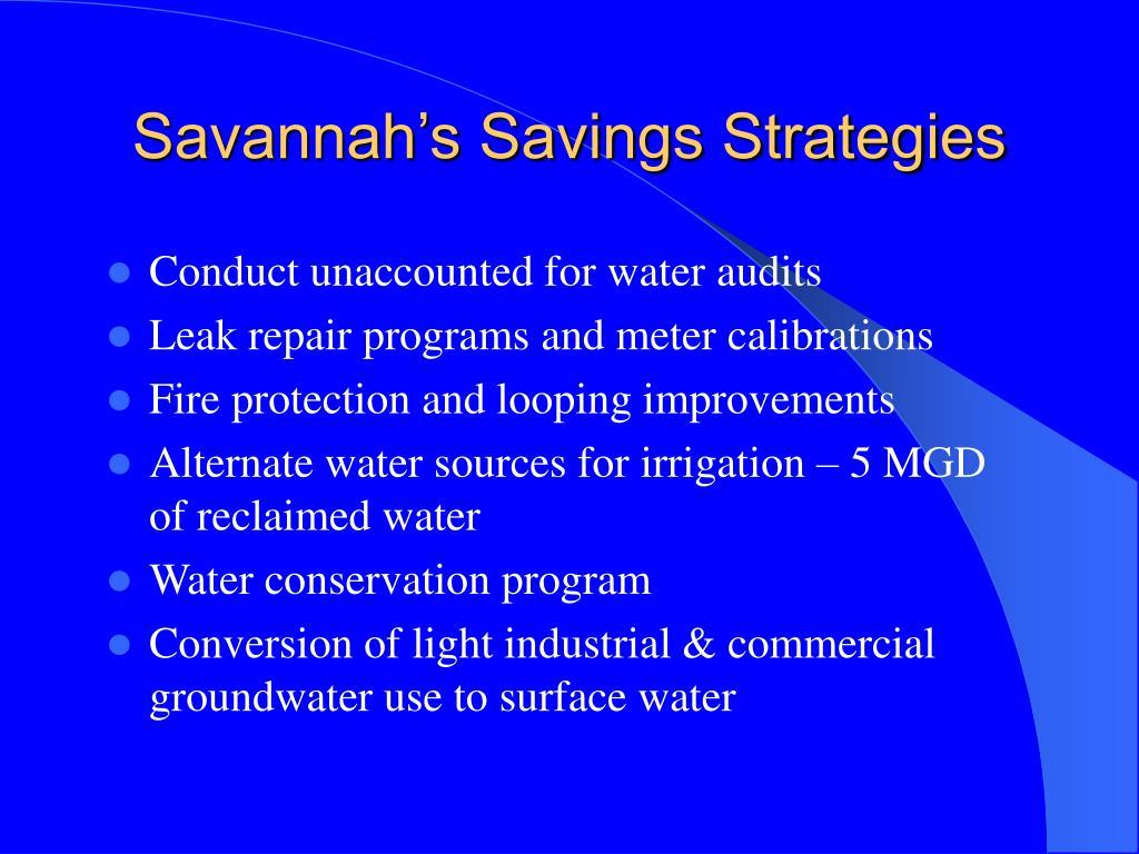 Savannah's Savings Strategies
