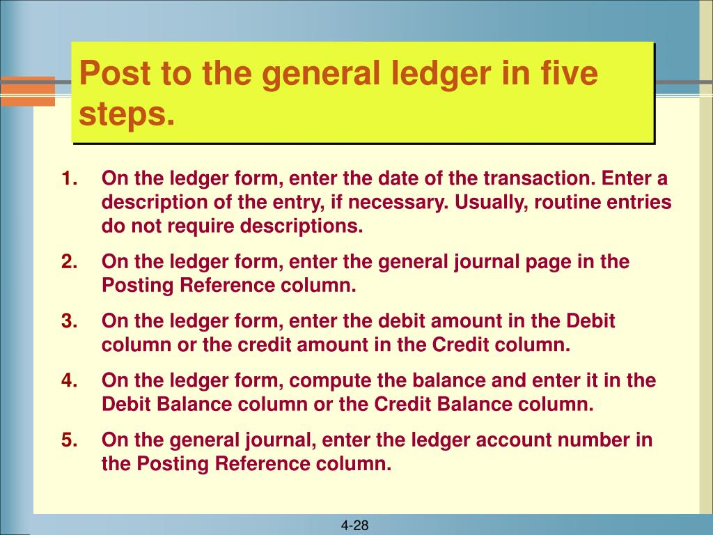 Post to the general ledger in five steps.