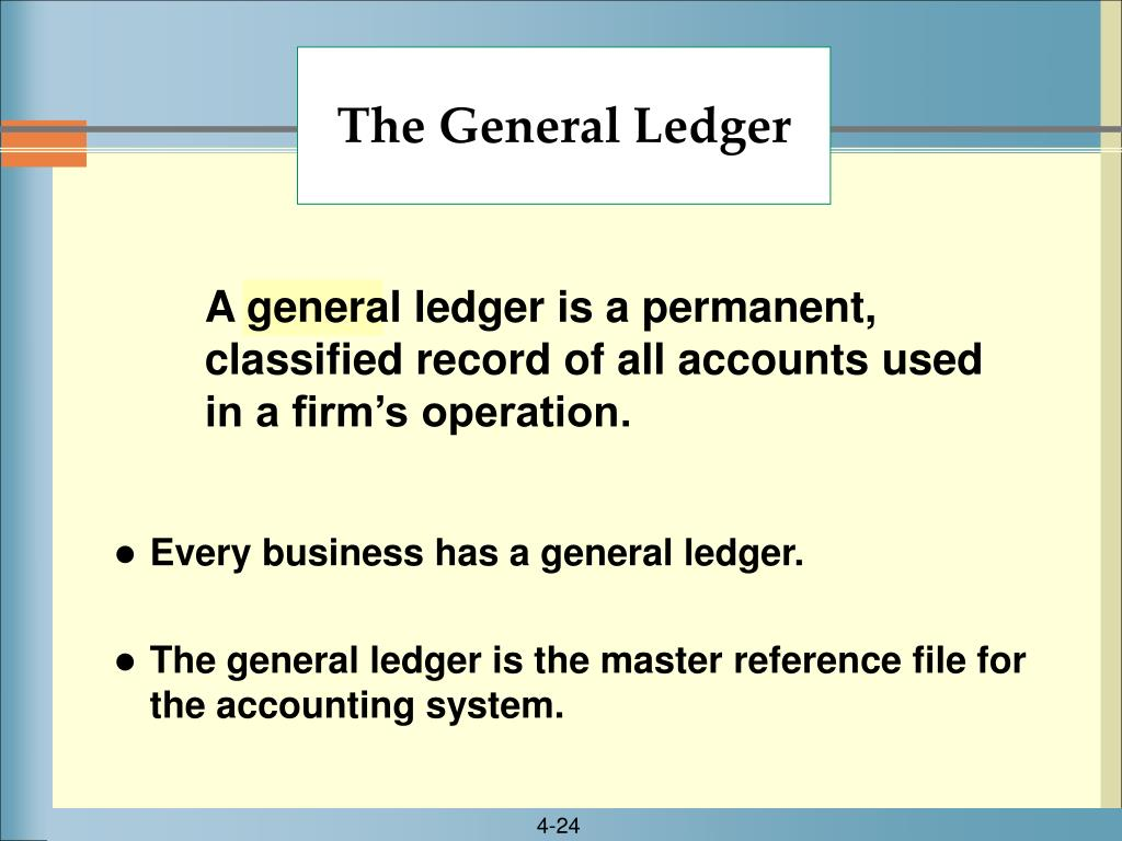 A general ledger is a permanent, classified record of all accounts used in a firm's operation.