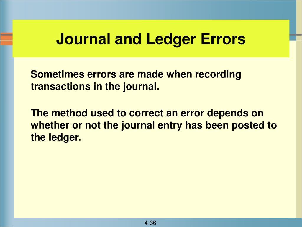 Journal and Ledger Errors