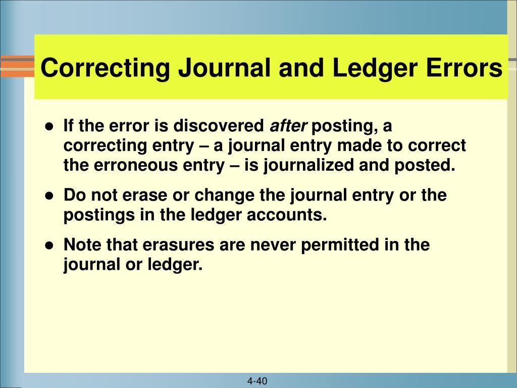 Correcting Journal and Ledger Errors