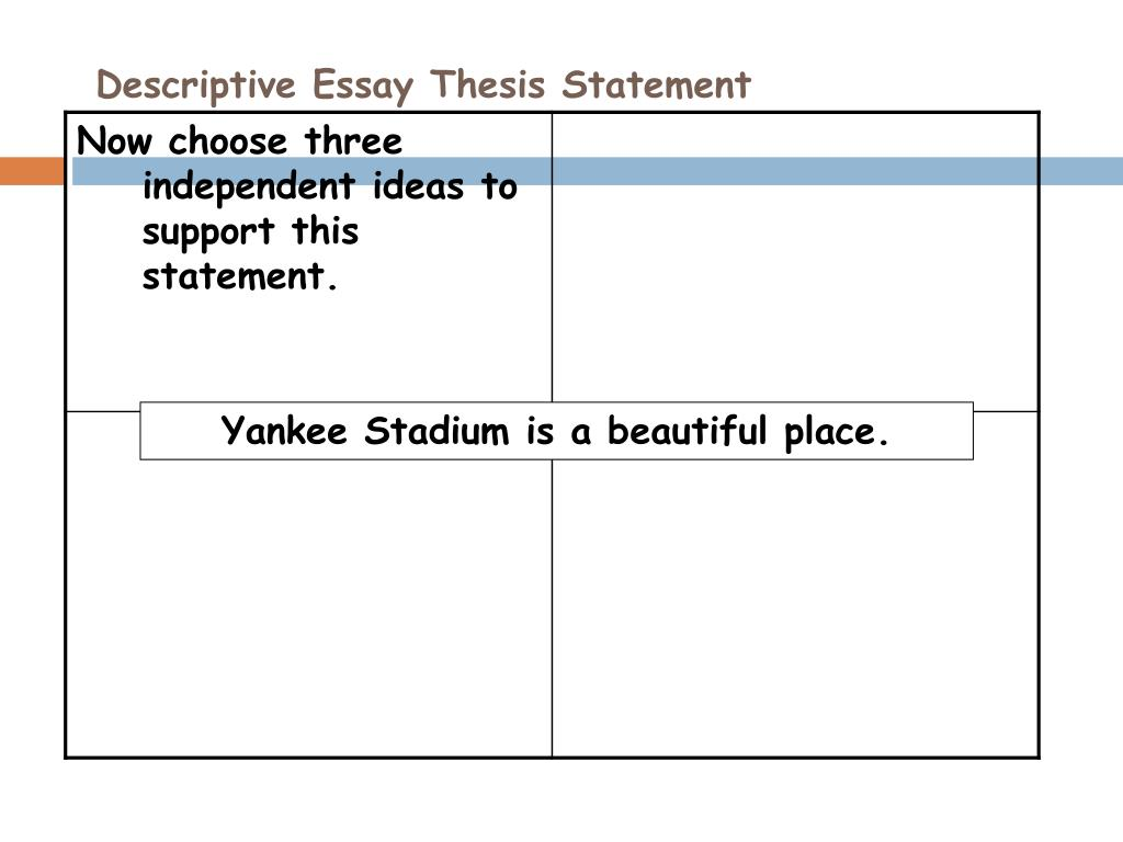 good thesis for descriptive essay One of the keys to writing a descriptive essay is to create a picture in your reading how to write a descriptive essay by standard five paragraph essay has a particular structure including the introductory paragraph with the inclusion of a thesis statement, followed by three body.