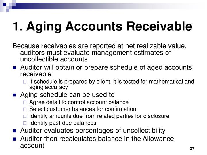 1. Aging Accounts Receivable