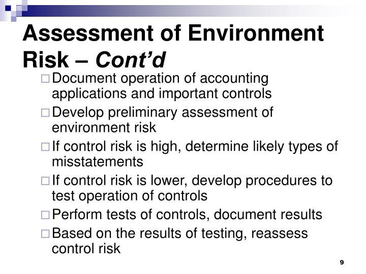 Assessment of Environment Risk –