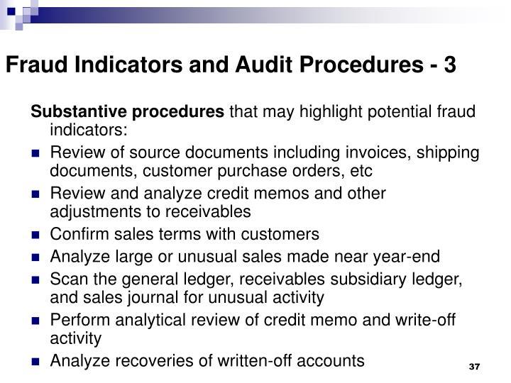Fraud Indicators and Audit Procedures - 3