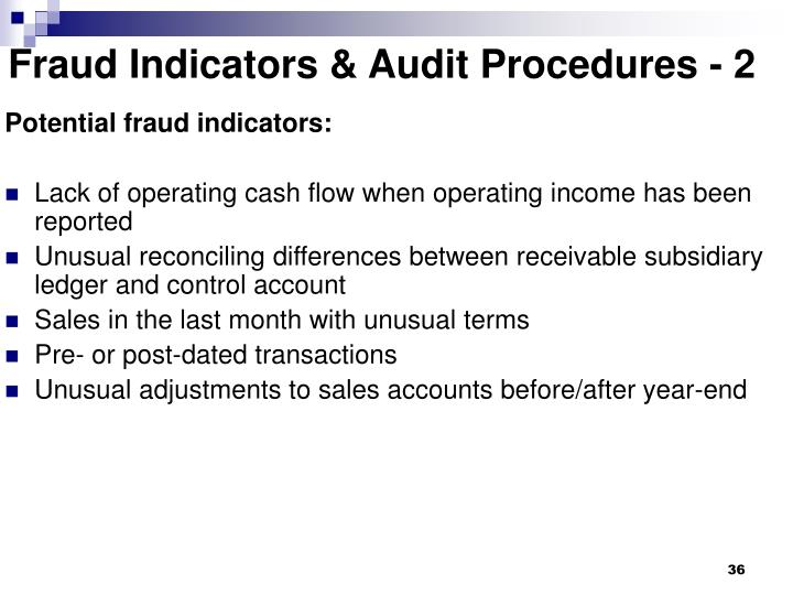 Fraud Indicators & Audit Procedures - 2