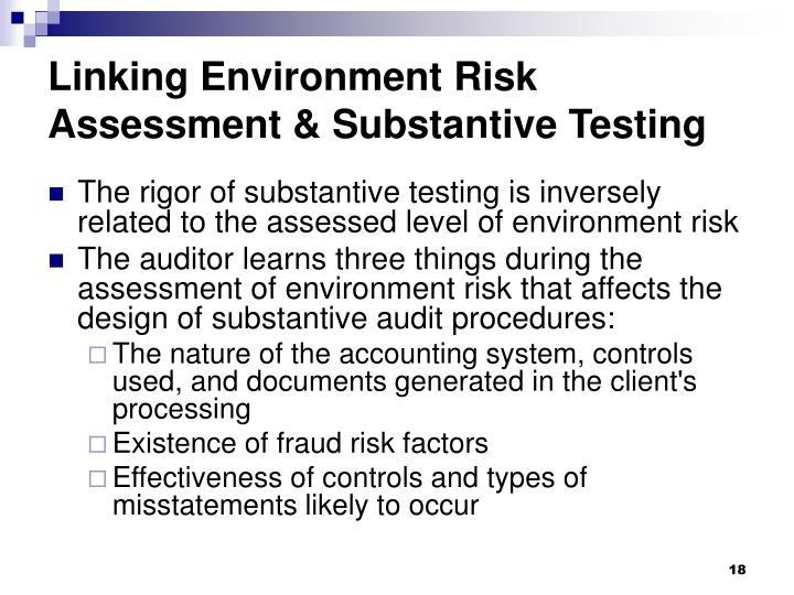 Linking Environment Risk Assessment & Substantive Testing