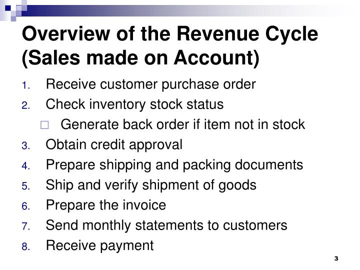 Overview of the revenue cycle sales made on account