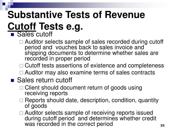 substantive audit testing revenue