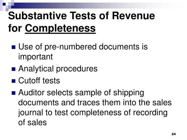 Substantive Tests of Revenue