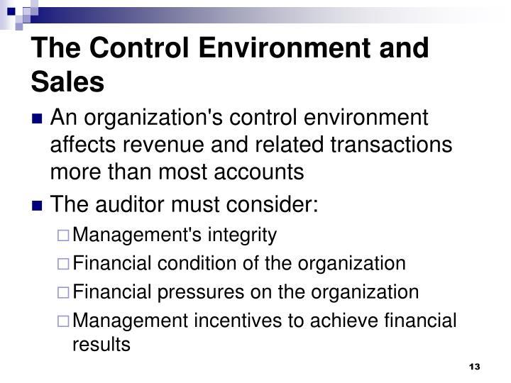 The Control Environment and Sales