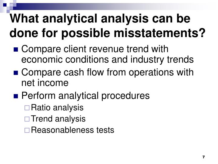 What analytical analysis can be done for possible misstatements?