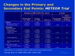 changes in the primary and secondary end points meteor trial