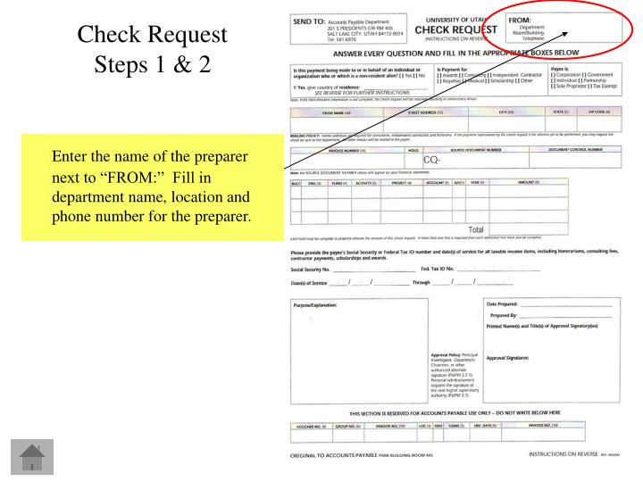Check Request Steps 1 & 2